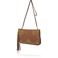 Tan leather western detail bag