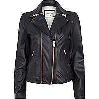 Navy zipped collar leather biker jacket