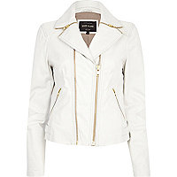 White zipped collar leather biker jacket