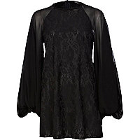 Black oversized sleeve lace dress