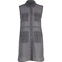 Grey sleeveless longline utility shirt