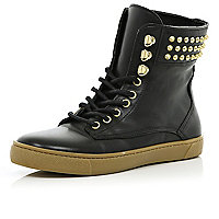 Black stud lace up high tops