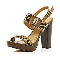 Brown leopard print block heel sandals