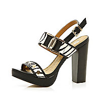 Black zebra print block heel sandals