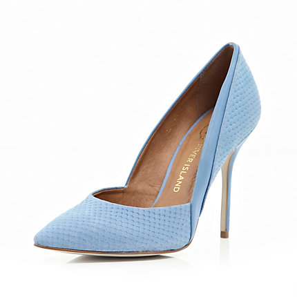 Blue snake panel pointed court shoes