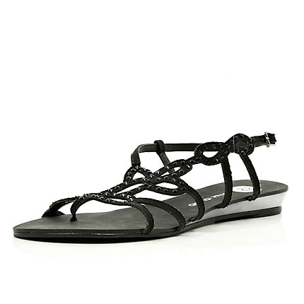 Black diamante pattern embellished sandals
