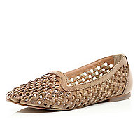 Light brown woven slipper shoes
