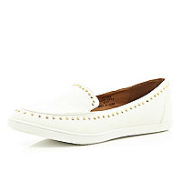 White studded slipper shoes