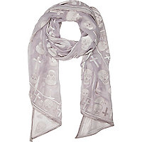 Pale purple devore skull print scarf