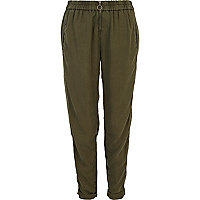 Khaki zip jogger trousers