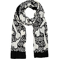 Black and white bone print scarf