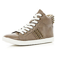 Beige studded leather look high tops