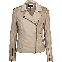 Beige over dye leather look biker jacket