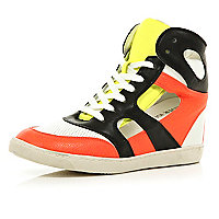Yellow concealed wedge cut out high tops