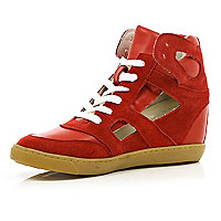 Red concealed wedge cut out high tops