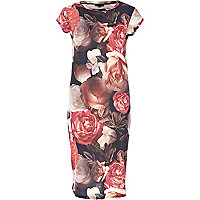 Pink floral printed tube dress