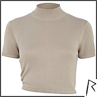 Beige Rihanna knot back turtle neck crop top