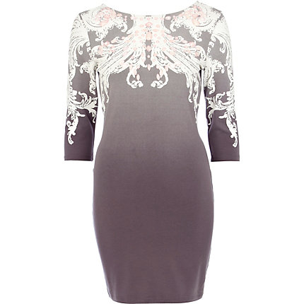 Grey dip dye jewelled bodycon dress