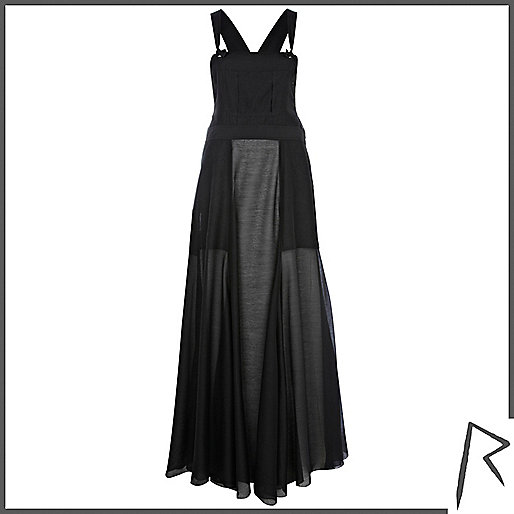 Black Rihanna sheer overall maxi dress