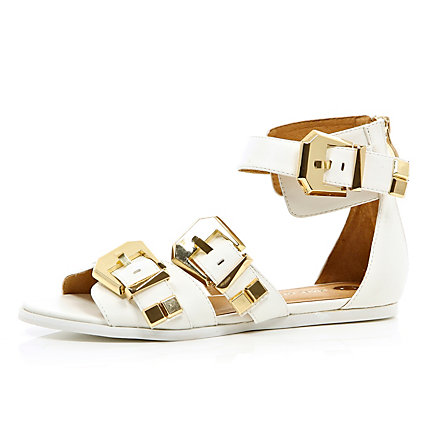 White chunky buckle sandals