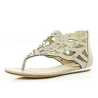 Beige embellished grecian sandals