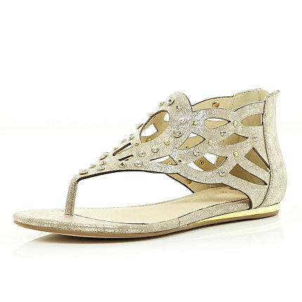 Gold metallic embellished grecian sandals