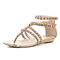 Brown studded spike strap sandals