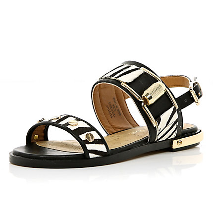 Black zebra print chunky buckle sandals