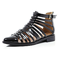 Black patent closed toe gladiator sandals