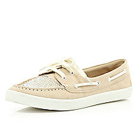 Pink diamante boat shoes