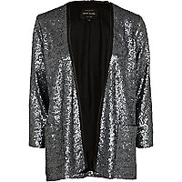 Grey sequin unfastened blazer
