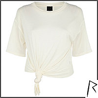 Cream Rihanna knot front cropped t-shirt