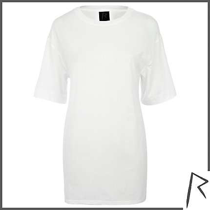 White Rihanna side split oversized t-shirt