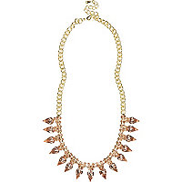 Gold tone diamante spike necklace