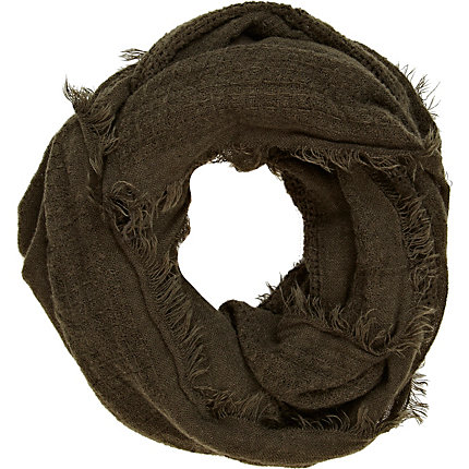 Khaki gauze distressed scarf