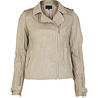 Beige pleat shoulder leather look jacket
