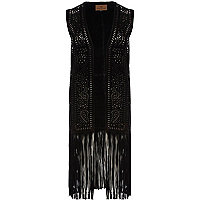 Black suede cut out pattern tassel gilet