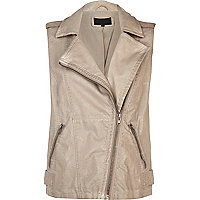 Beige over dye leather look biker gilet