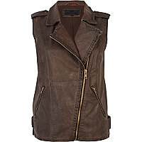 Brown over dye leather look biker gilet