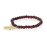 Brown wooden bead hand pendant bracelet