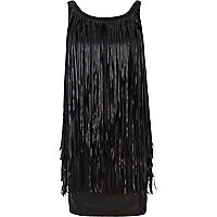 Black leather look fringed sleeveless dress
