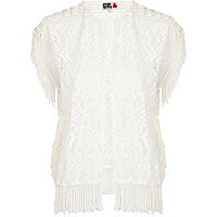 White Chelsea Girl fringed lace top