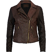 Brown colour block leather look biker jacket