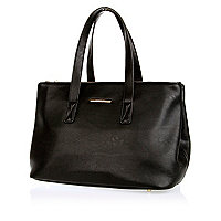 Black double gusset tote bag