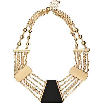 Black short statement necklace