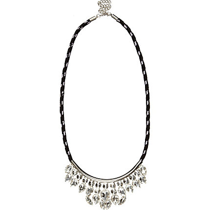 Black bungee cord crystal necklace