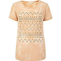 Beige burnout studded pattern t-shirt