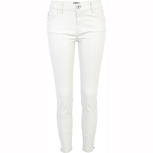 Beige Amelie superskinny ankle grazer jeans