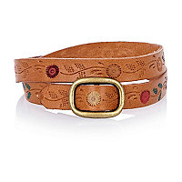 Light brown floral leather bracelet