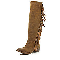 Brown fringed knee high western boots
